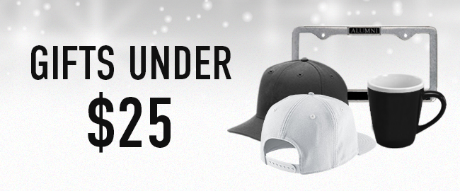 Picture of hats, mug, and license plate frame. Click to shop Gifts Under $25.